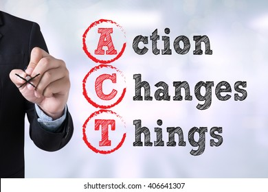 Action Changes Things (ACT) Businessman drawing Landing Page on blurred abstract background