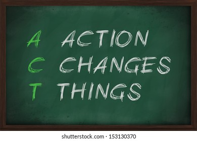 Action Changes Things with white chalk on blackboard.