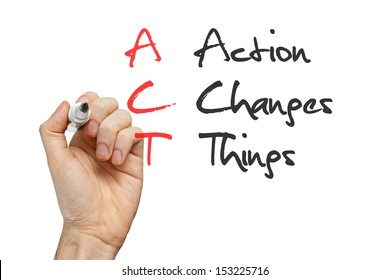 Action Changes Things written by hand on whiteboard