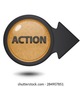 Action circular icon on white background