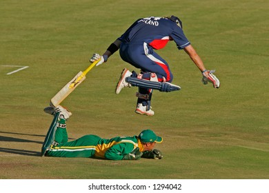 Action during an international cricket game between England and South Africa