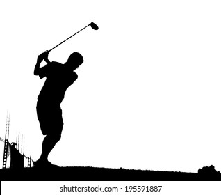 An action golfer in silhouette with tee off