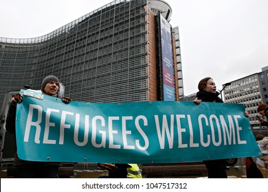 Action Lets bring them Here by Refugees Welcome campaign Supporters NGOs and civil society organisations organise demonstration to bring refugees from Greece to Northern Europe in Brussels 6 Mar. 2017