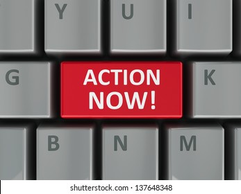 Action now computer key - demand of urgent act (three-dimensional rendering)