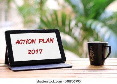 Action plan 2017 writte on tablet.