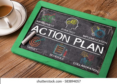 Action Plan chart with keywords and elements on small blackboard