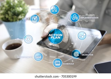 Action plan on the virtual screen. Planning concept. Business strategy.