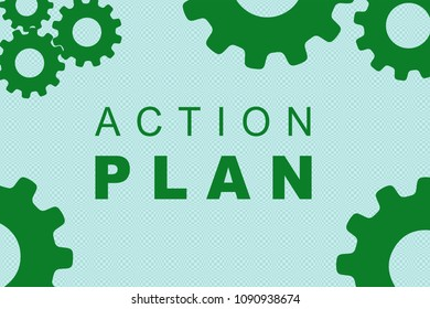 ACTION PLAN sign concept illustration with green gear wheel figures on pale blue background