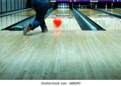 action shot of bowling (shoes are generic bowling shoes)