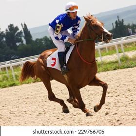 Action shot of jockeys in horse race in Pyatigorsk