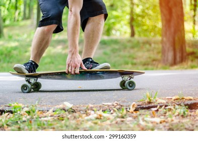 Action shot of a longboarder