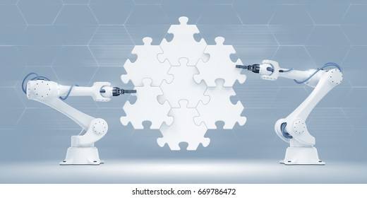 Action Show Of Robotic Manipulators. 3d rendered graphic composition on the subject of Industrial Robotics.