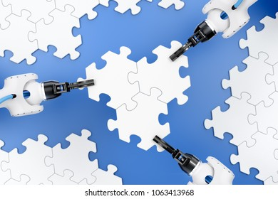 Action Show Of Robotic Manipulators. Mechanical grippers of an industrial robots assembling pieces of jigsaw puzzle. 3d rendering graphic composition on the subject of 'Industrial Robotics'.