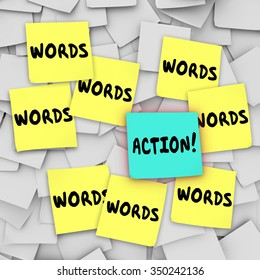 Action Vs Words on sticky notes on a message or bulletin board