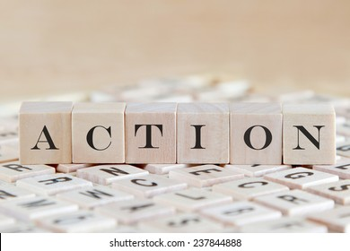 action word background on wood blocks