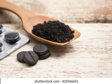 Activated carbon on white