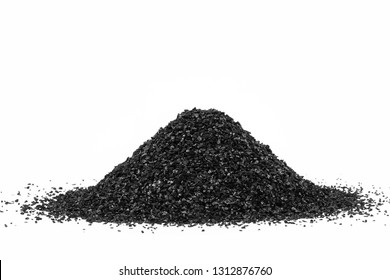 Activated Carbon in the water purifier isolated on white background. Activated Carbon.