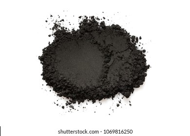 Activated charcoal powder isolated on white background, abstract pattern