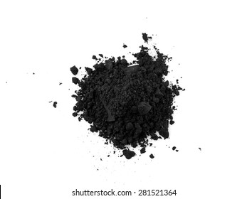 Activated charcoal powder isolated on white