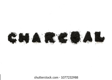 Activated charcoal powderisolated on white background, abstract pattern