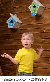 Active blond boy and two nesting boxes on wooden wall indoors