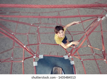 Active boy playing on climbing net at outdoor playground. Kid play and climb outdoors on sunny summer day. Cute boy on nest swing at sport center.