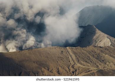 Active Bromo volcano at closeup