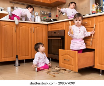 Active child playing in the kitchen