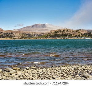 Active Copahue Volcano and Caviahue Lake on  Patagonia, Neuqen, Argentina Land of dinosaurs. Provincial Park of Copahue.