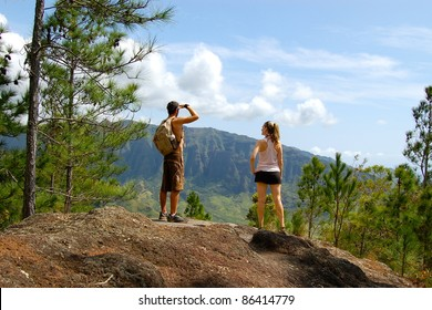 Active Couple Hiking in Hawaii