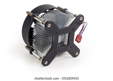 Active CPU cooler with aluminum finned heatsink and fan for desktop computers on a white background, bottom view from the side of the pressure plate