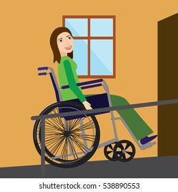 Active disabled young woman in a wheelchair on the ramp