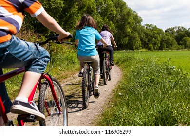 Active family riding bikes