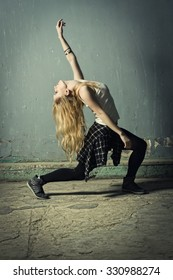 Active female enjoying aerobics zumba fitness. Film grain effect
