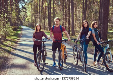 Active friends walk with bike at forest road in spring.