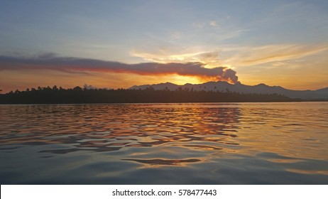 Active Galela volcano on sunset, Halmahera Utara, East Indonesia