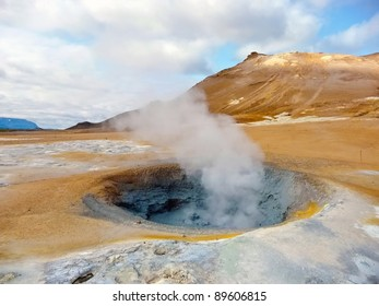 Active geothermal fumarole in Iceland in summer time