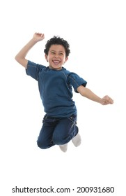 Active Happy Boy Jumping with Joy Isolated on White Background