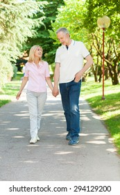 Active and happy mature couple walking in the park