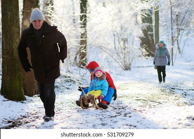 Active healthy grandparents and their happy grandchildren, toddler girl and teenage boy wearing colorful snowsuits enjoying a sledge ride in beautiful snowy forest on sunny winter day