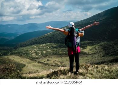 Active hiker enjoying the view. Carpathians, Ukraine