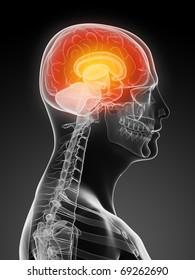 active human brain / headache illustration