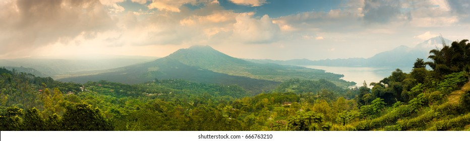 Active Indonesian volcano Batur in the tropical island Bali / Indonesia
