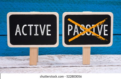 Active instead of Passive - two little chalkboards with text on blue background