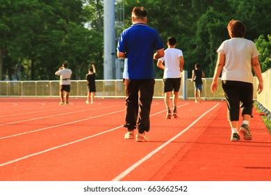 Active  jogging in stadium