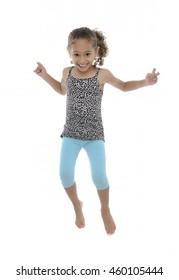 Active Joyful Girl Jumping With Joy Isolated on White Background
