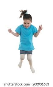 Active Joyful Little Girl Jumping with Joy Isolated on White Background