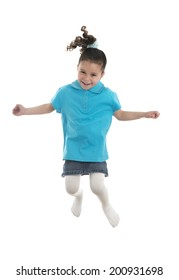 Active Joyful Young Girl Jumping with Joy Isolated on White Background