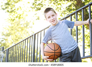 An active kid with a basketball