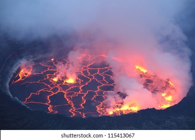Active lava lake in pit crater, Nyiragongo Volcano, Democratic Republic Congo